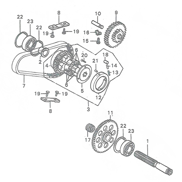 E-14.Primary shaft, Drive chain